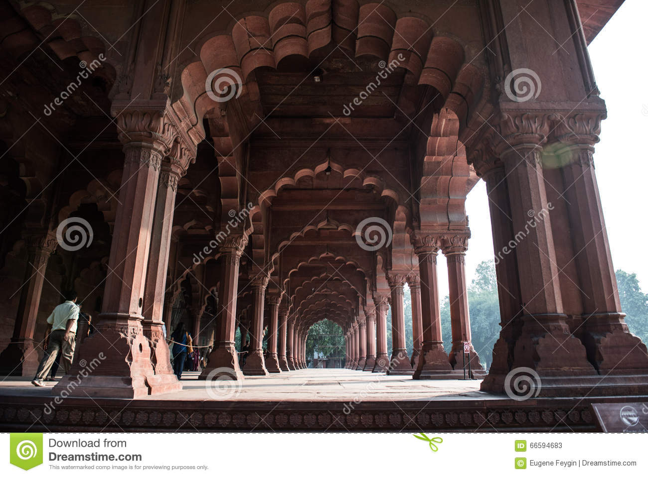 Beautiful Pillars In Red Fort Stock Photo Image 66594683