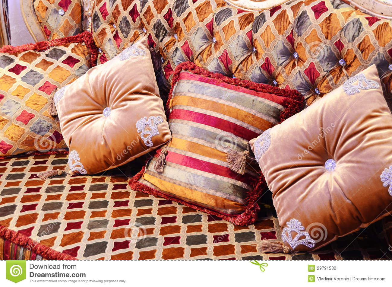 beautiful pillows on a magnificent sofa stock photo image 29791532. Black Bedroom Furniture Sets. Home Design Ideas