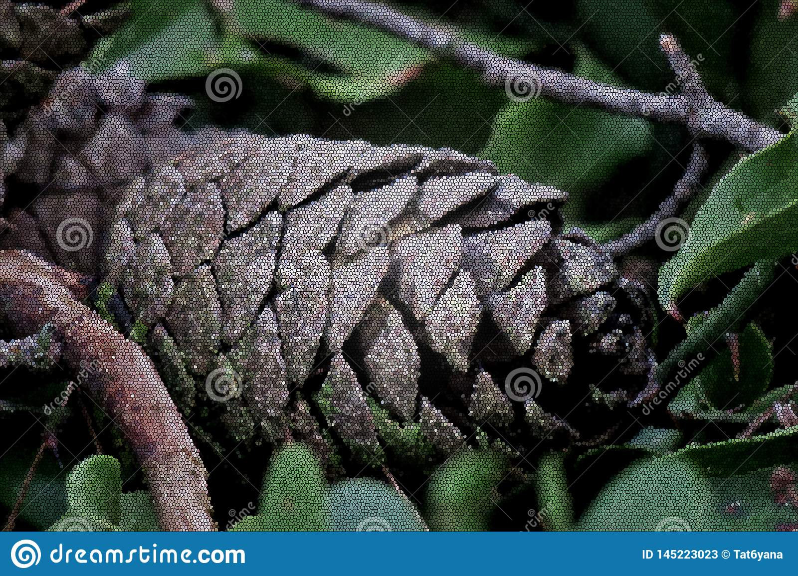 Beautiful pine cone on green leaves close up