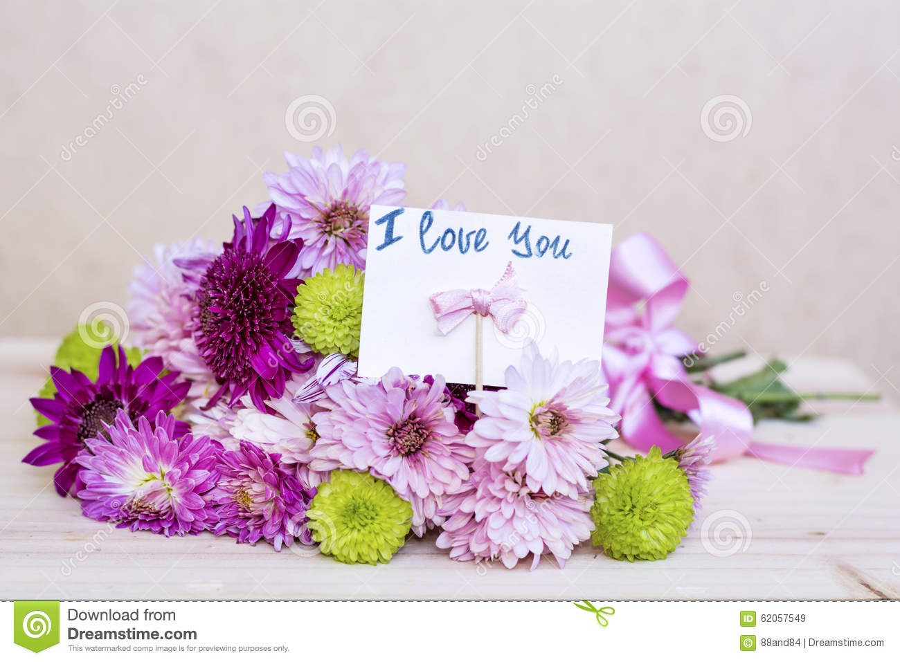 Beautiful Pink Chrysanthemums Bouquet With I Love You Card ...