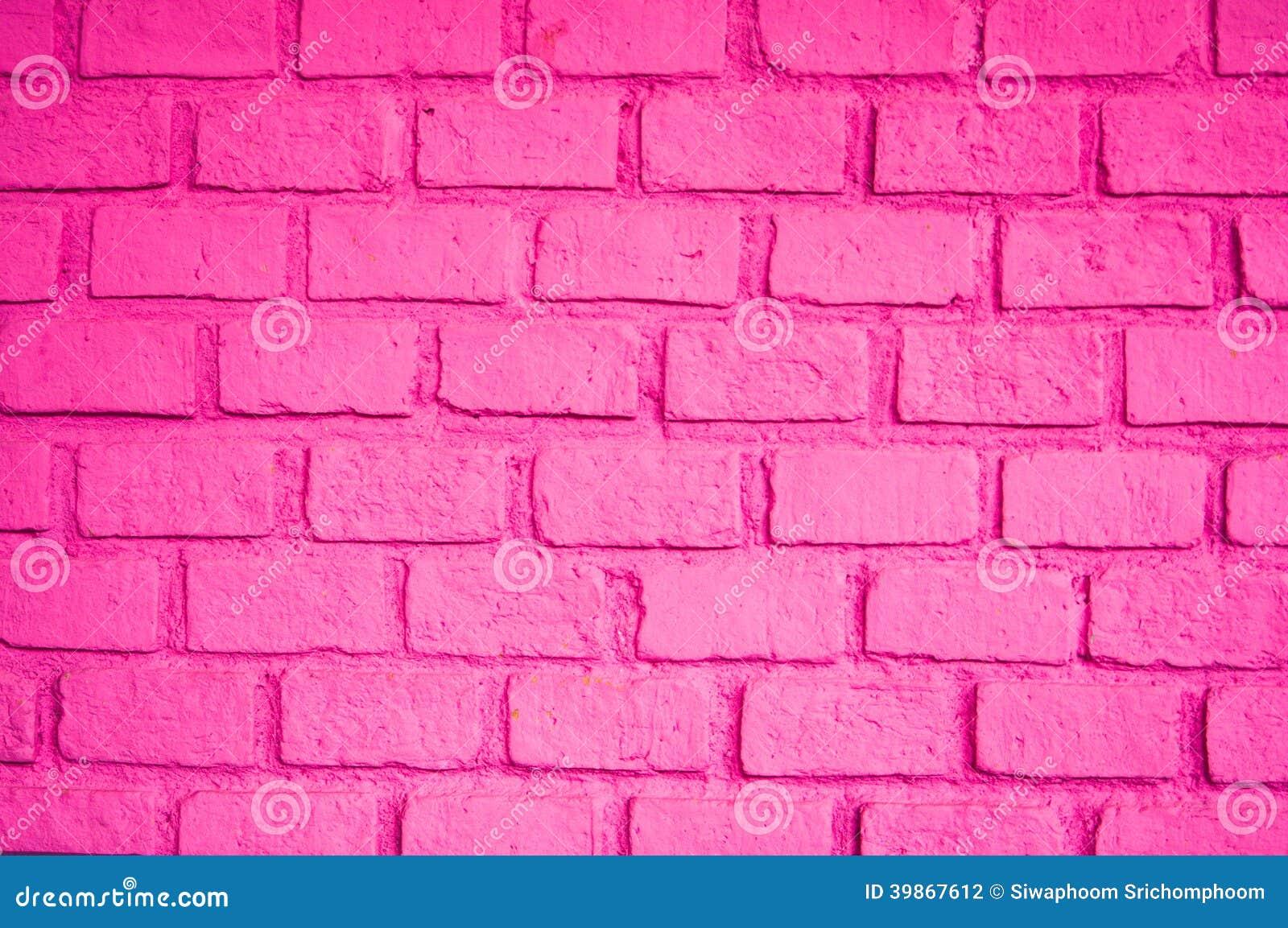 Beautiful Pink Color Of Brick Wall Stock Photo - Image: 39867612