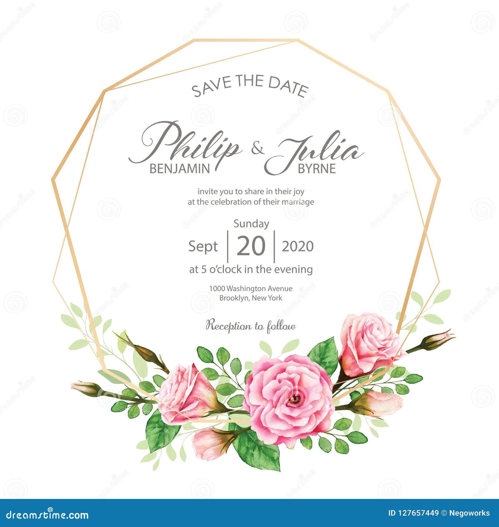 Beautiful pink floral wedding invitation card on White BG