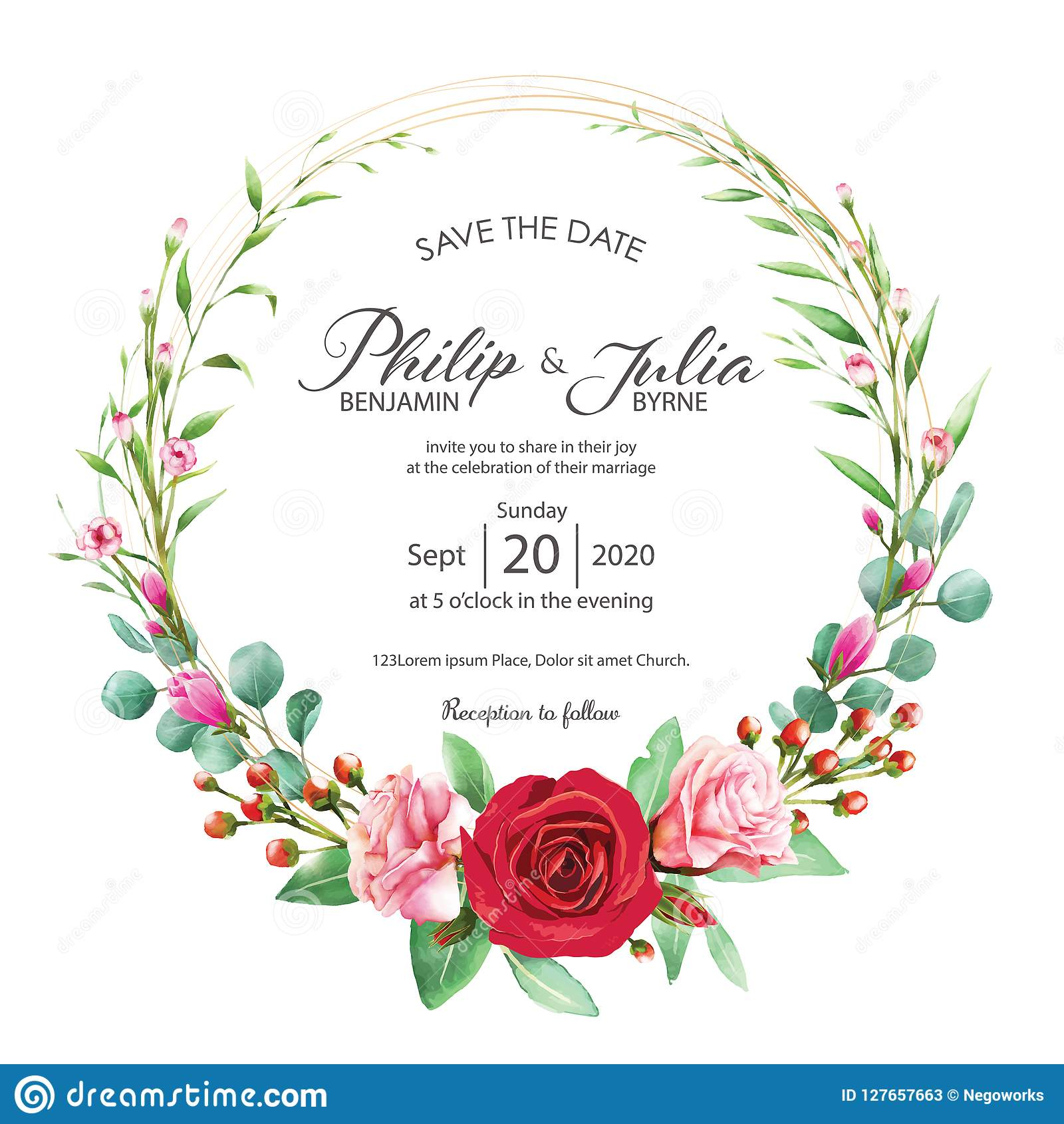 Wedding Flower Background: Beautiful Red And Pink Floral, Flower Wedding Invitation