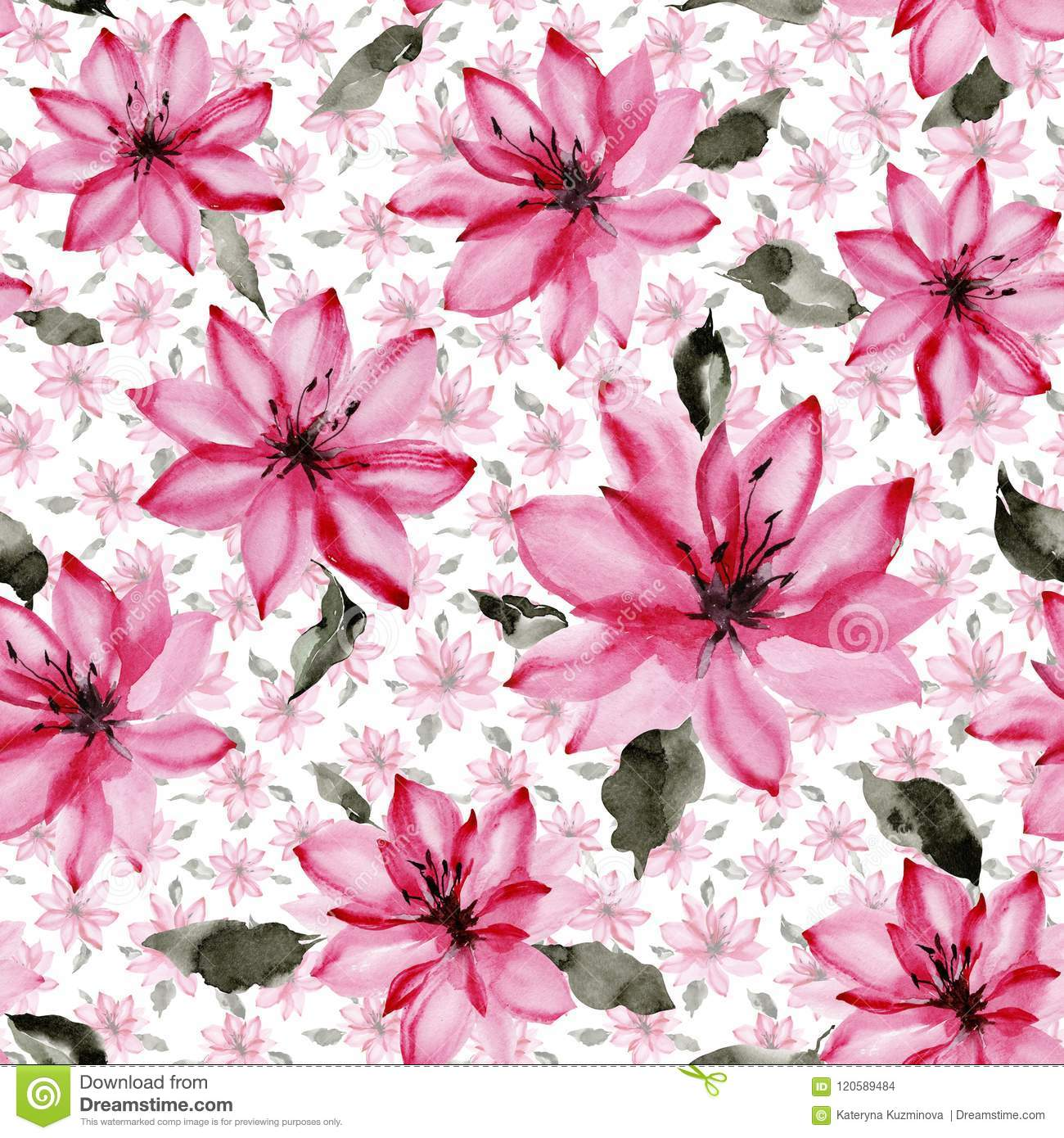 Beautiful pink flowers with leaves on white background. Seamless floral pattern. Watercolor painting.