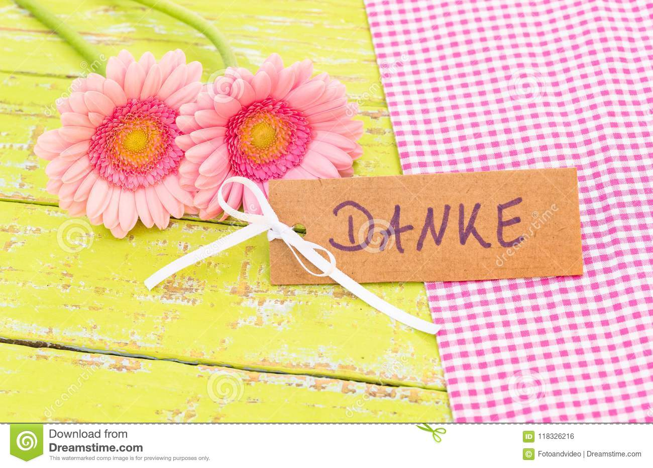 Pink Flowers And Card With German Word Danke Means Thank You Stock