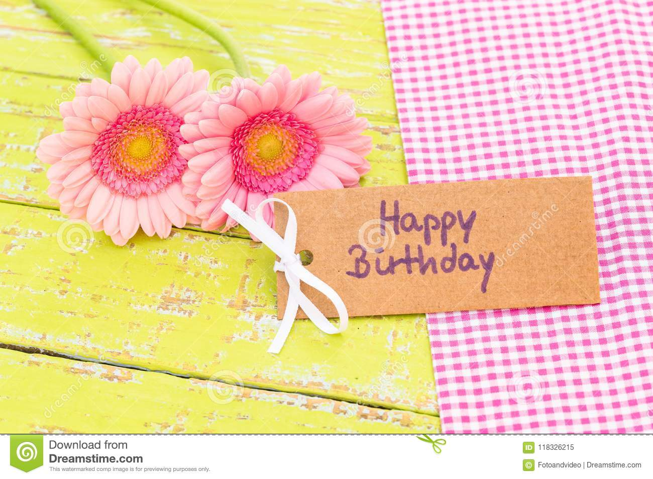 Pastel Pink Flowers And Greeting Card Happy Birthday Stock Image