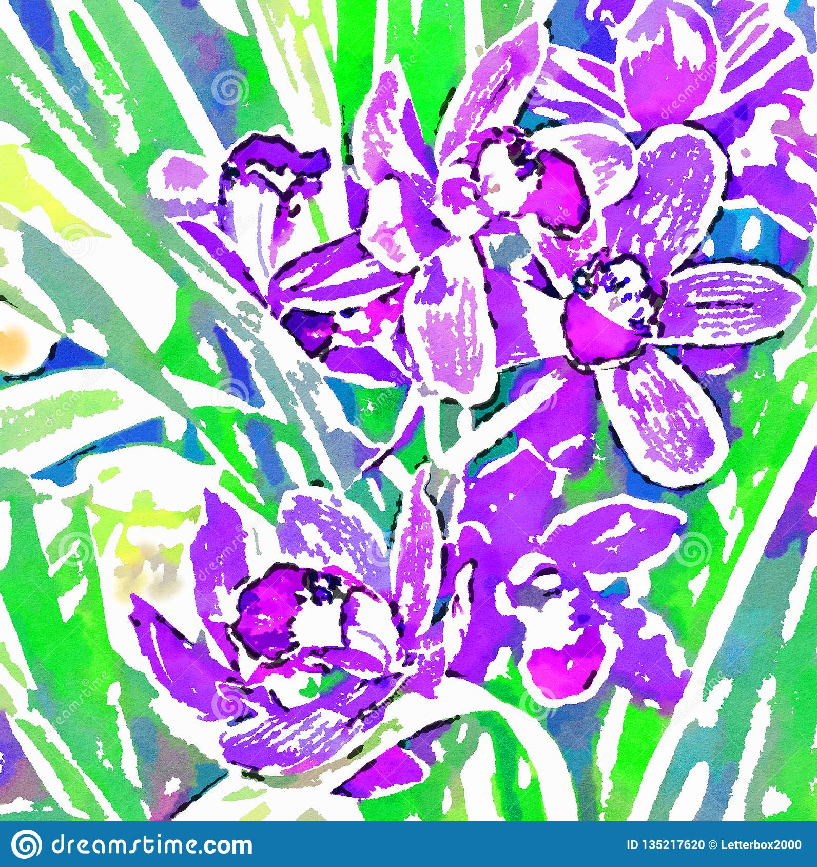 Orchid. Watercolor stylization. Digital image.