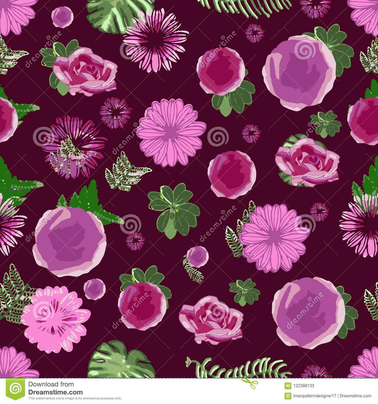 Beautiful Pink And Purple Flowers And Green Leaves In A Repeating