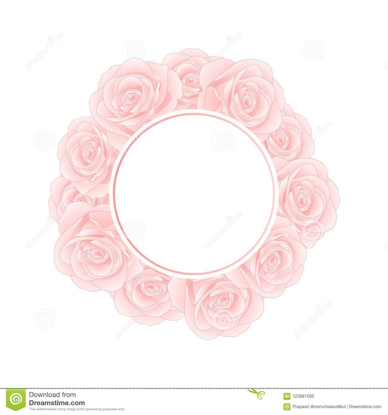 Beautiful Pink Rose Banner Wreath - Rosa isolated on White Background. Valentine Day. Vector Illustration