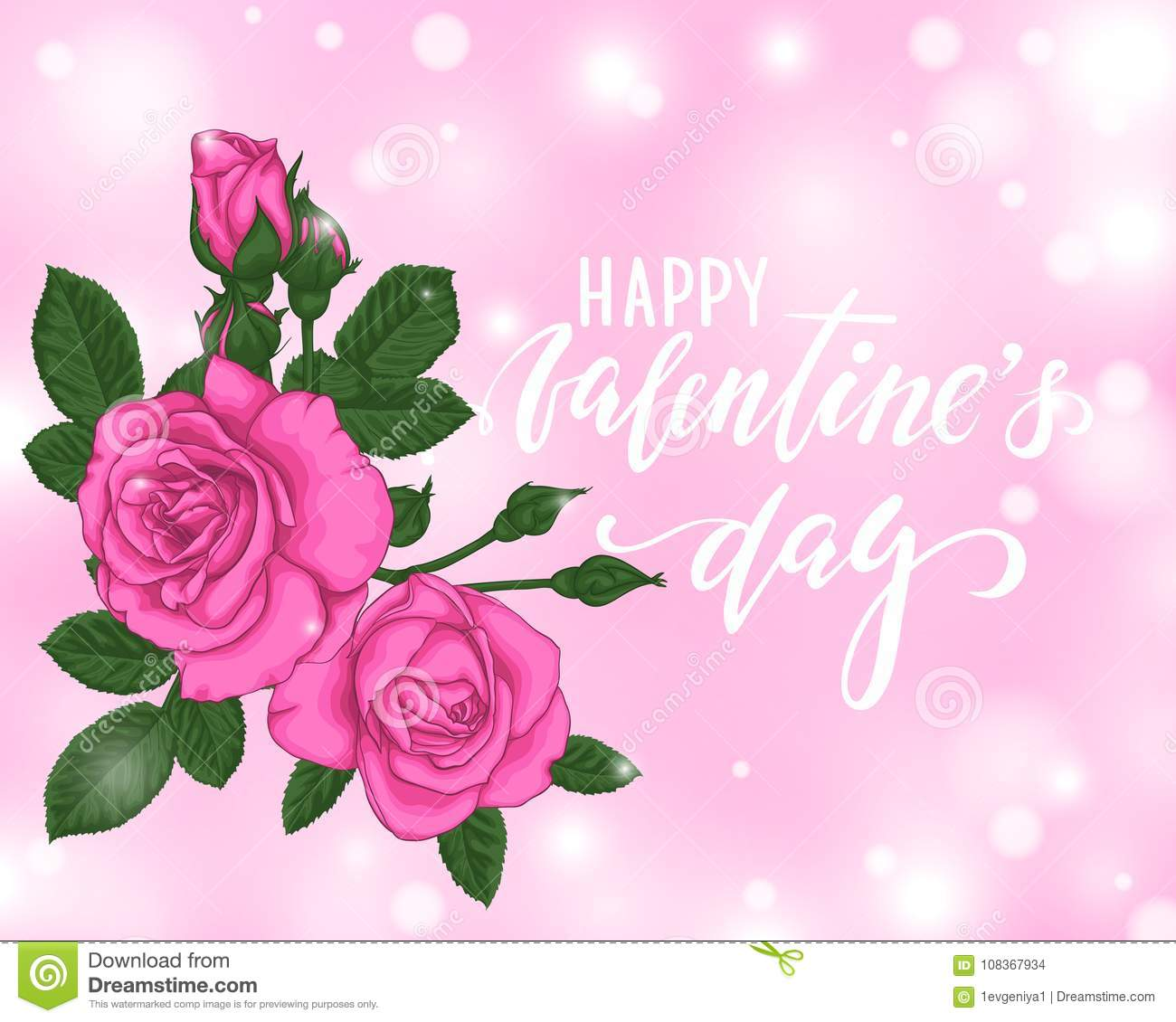 Beautiful Pink Roses Bokeh Background Happy Valentines Day Hand
