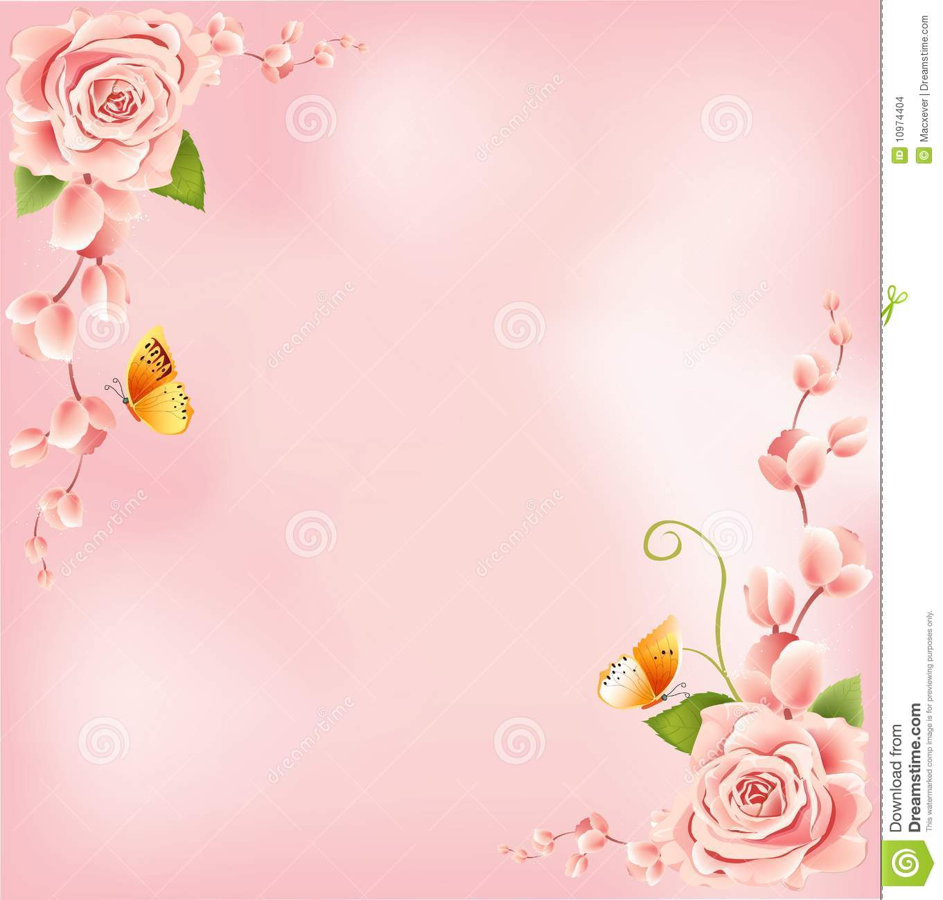 Beautiful Pink Roses Border Stock Illustration