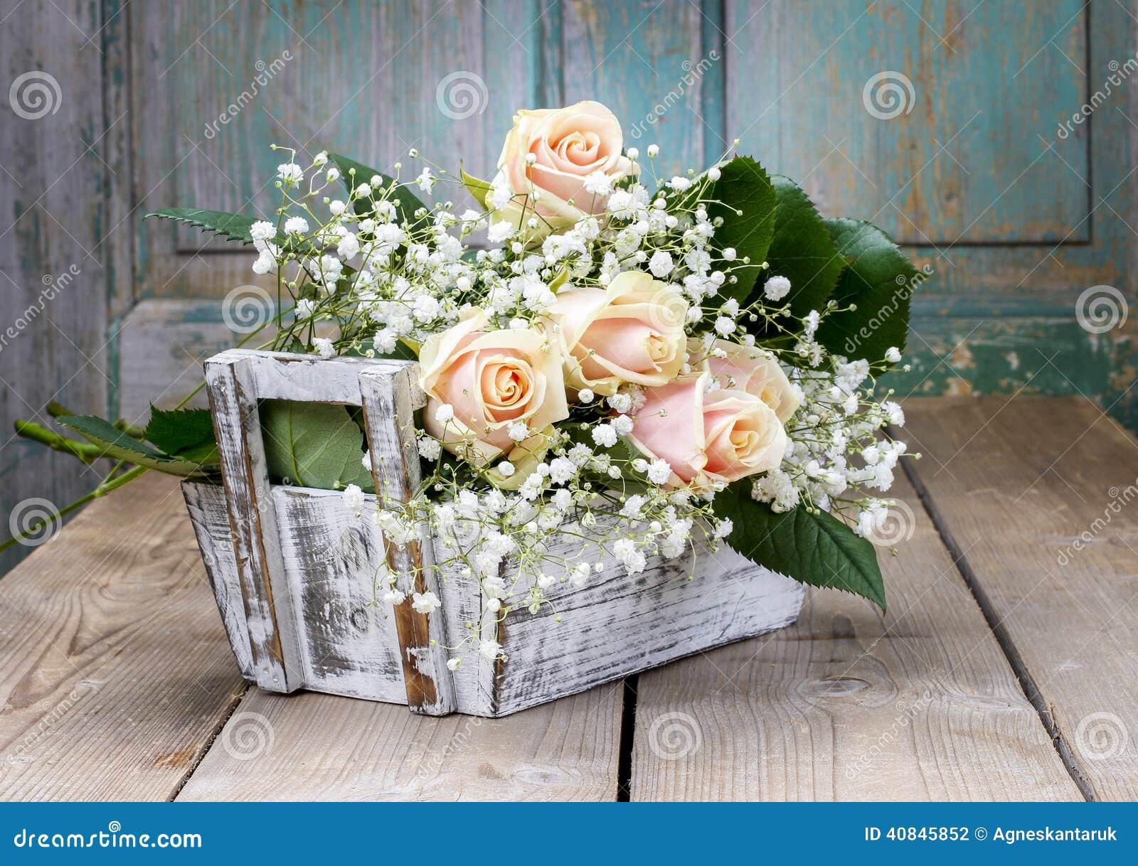 Beautiful Pink Roses And Gypsophila Paniculata Stock Photo