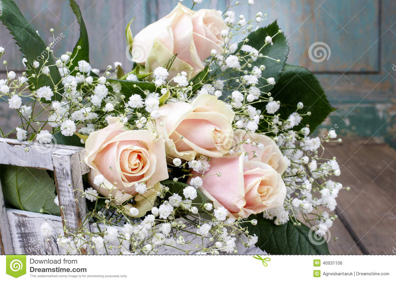 Babys Breath And Roses Beautiful pink roses and