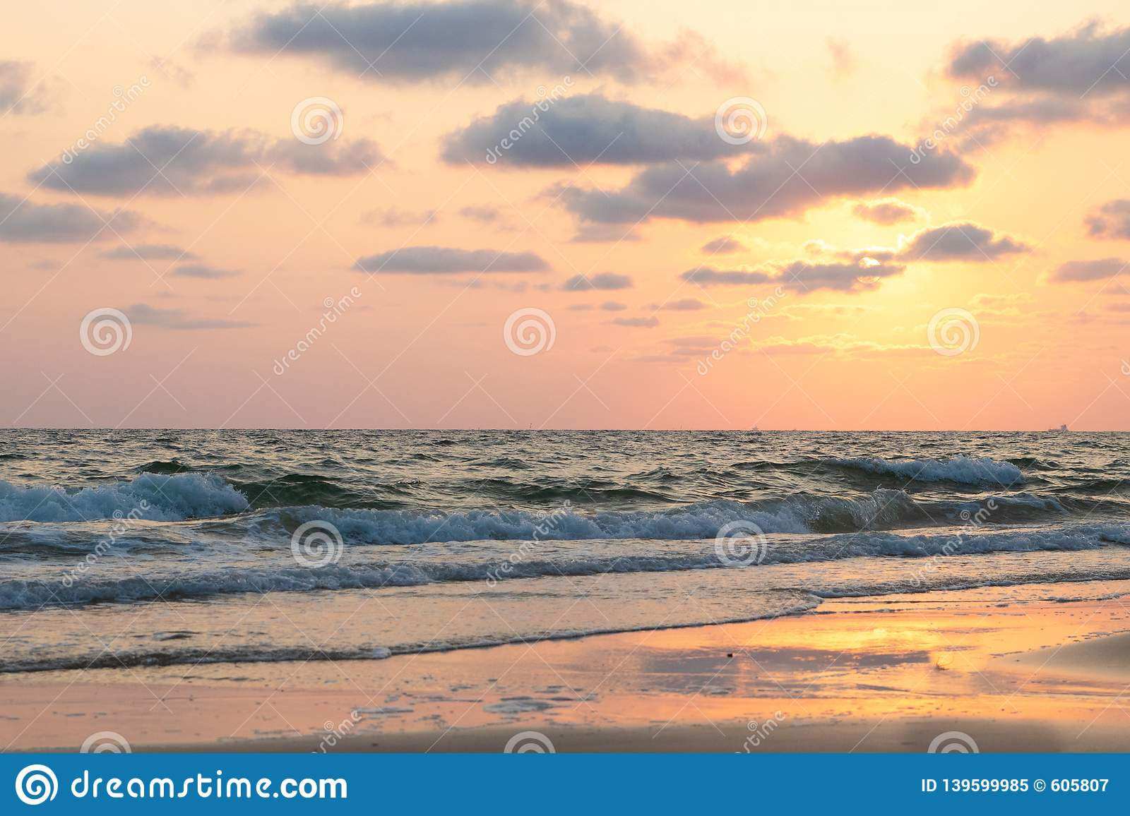 Beautiful pink sunset over sea, background