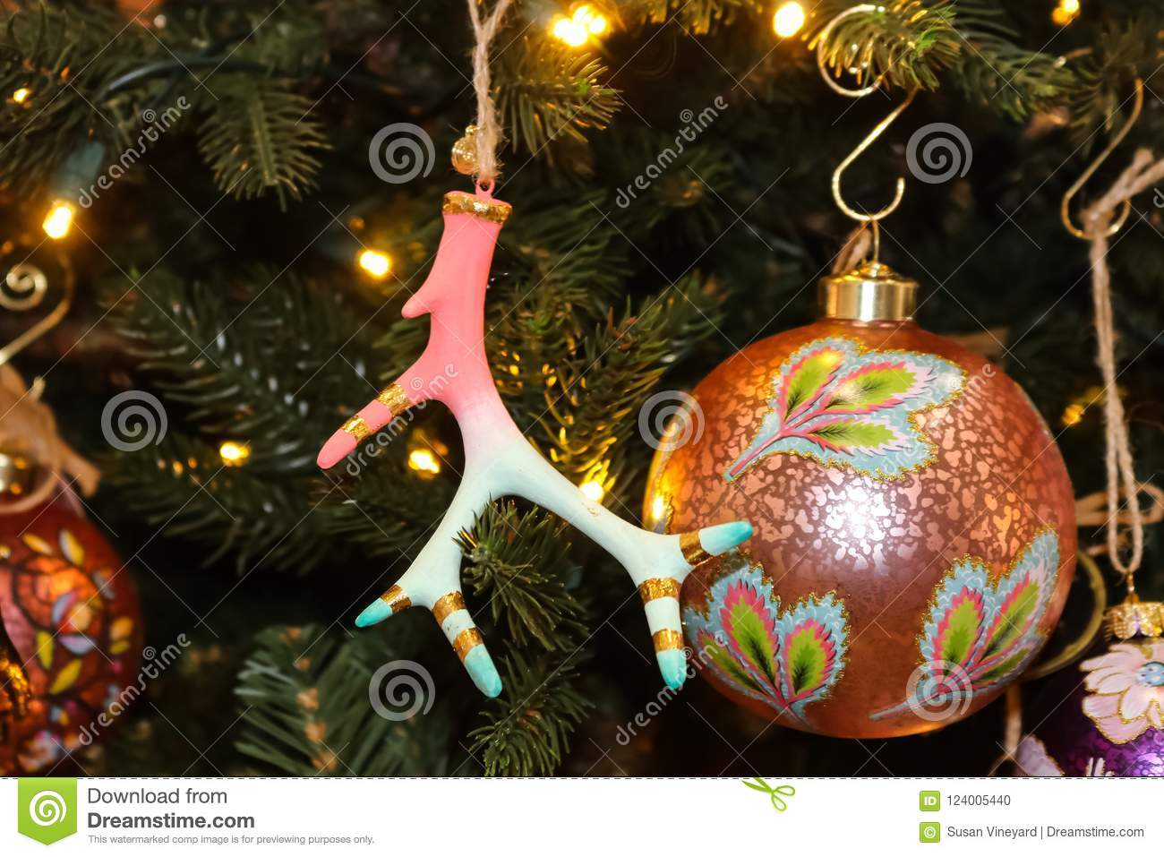 download beautiful pink and turquoise christmas ornaments including a deer horn with gold trim on christmas - Beautiful Christmas Ornaments