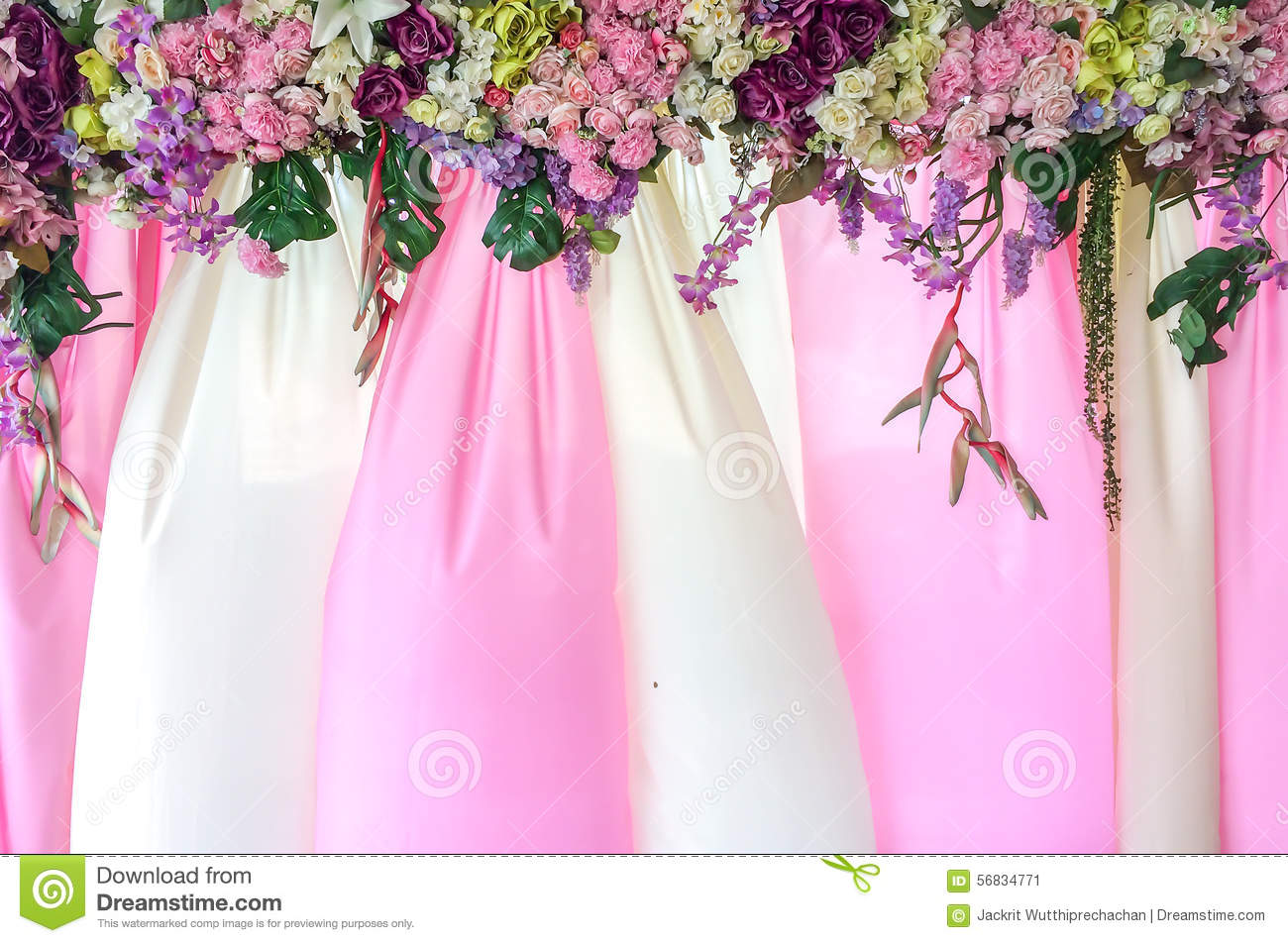 Beautiful Pink and White Textile Backdrop with Flowers Cover used as Template