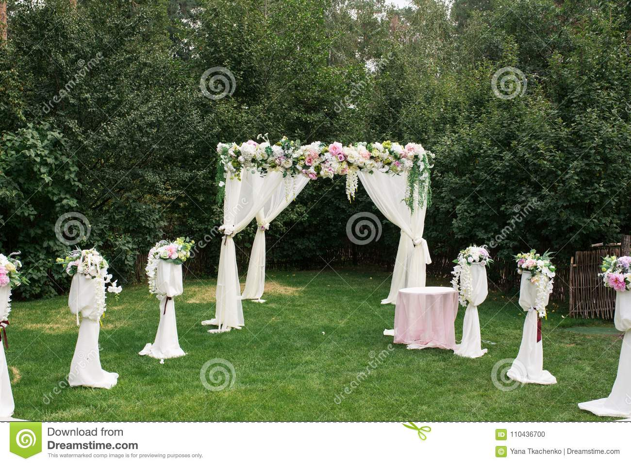 The Beautiful Platform For A Wedding Ceremony Under The Open Sky ...