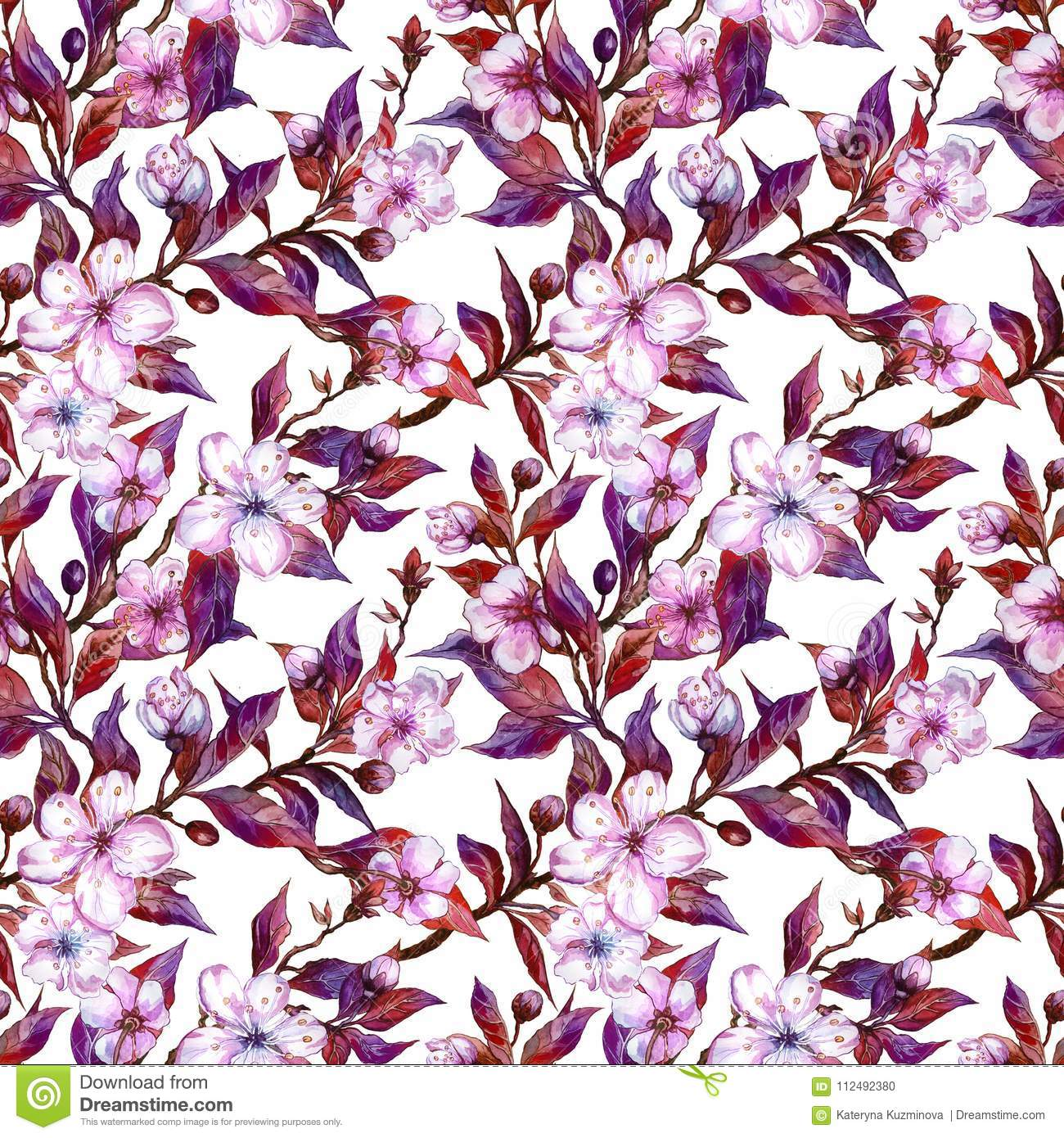 Beautiful plum tree twigs in bloom on white background pink flowers pink flowers and red and purple leaves spring seamless floral pattern watercolor painting hand drawn illustration fabric wallpaper design mightylinksfo
