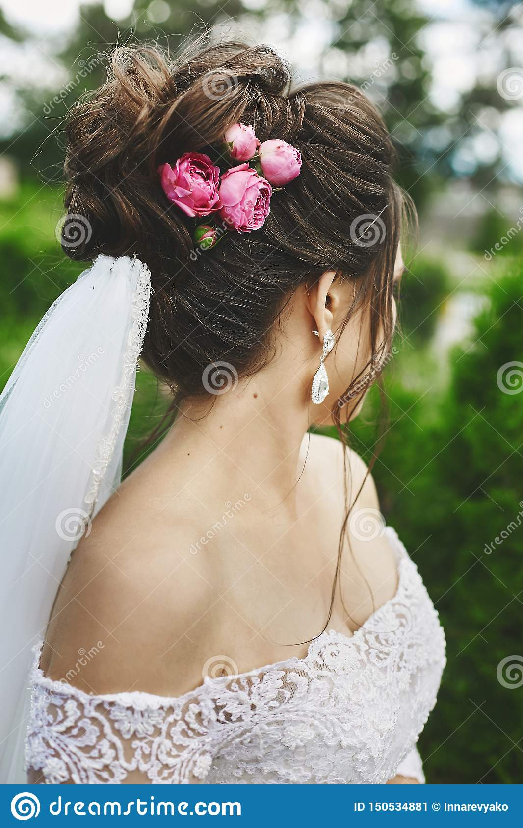 Beautiful Plus Size Model Woman With Stylish Wedding Hairstyle