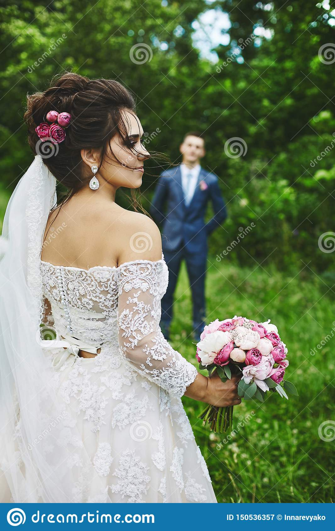 Beautiful Plus Size Model Woman With Wedding Hairstyle In A