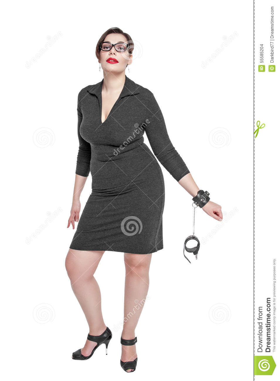 Beautiful Plus Size Woman In Black Dress With Handcuffs