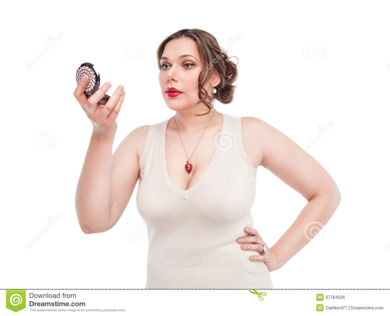 Beautiful Plus Size Woman With Mirror Stock Photo - Image ...