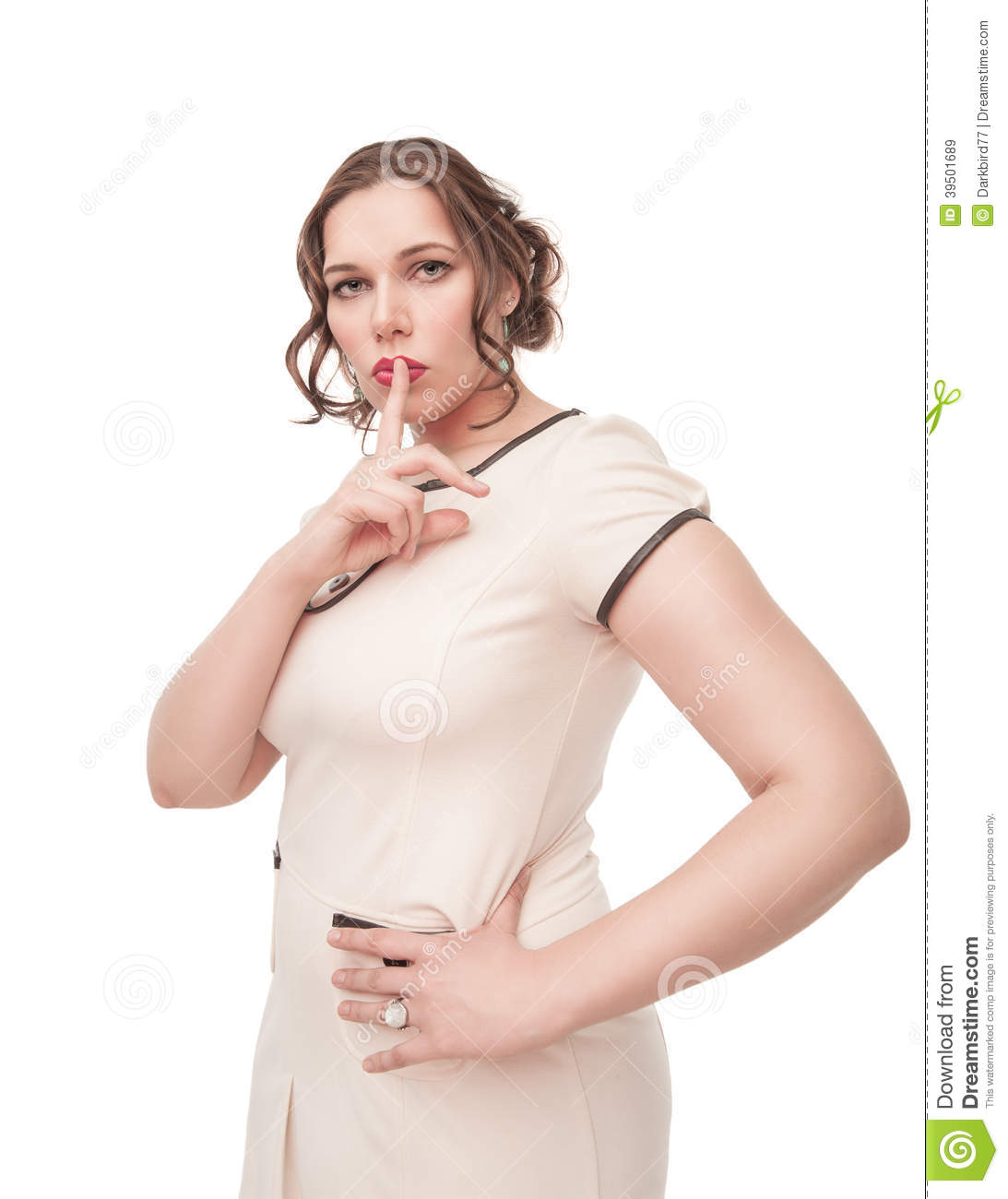 Beautiful plus size woman showing quiet sign