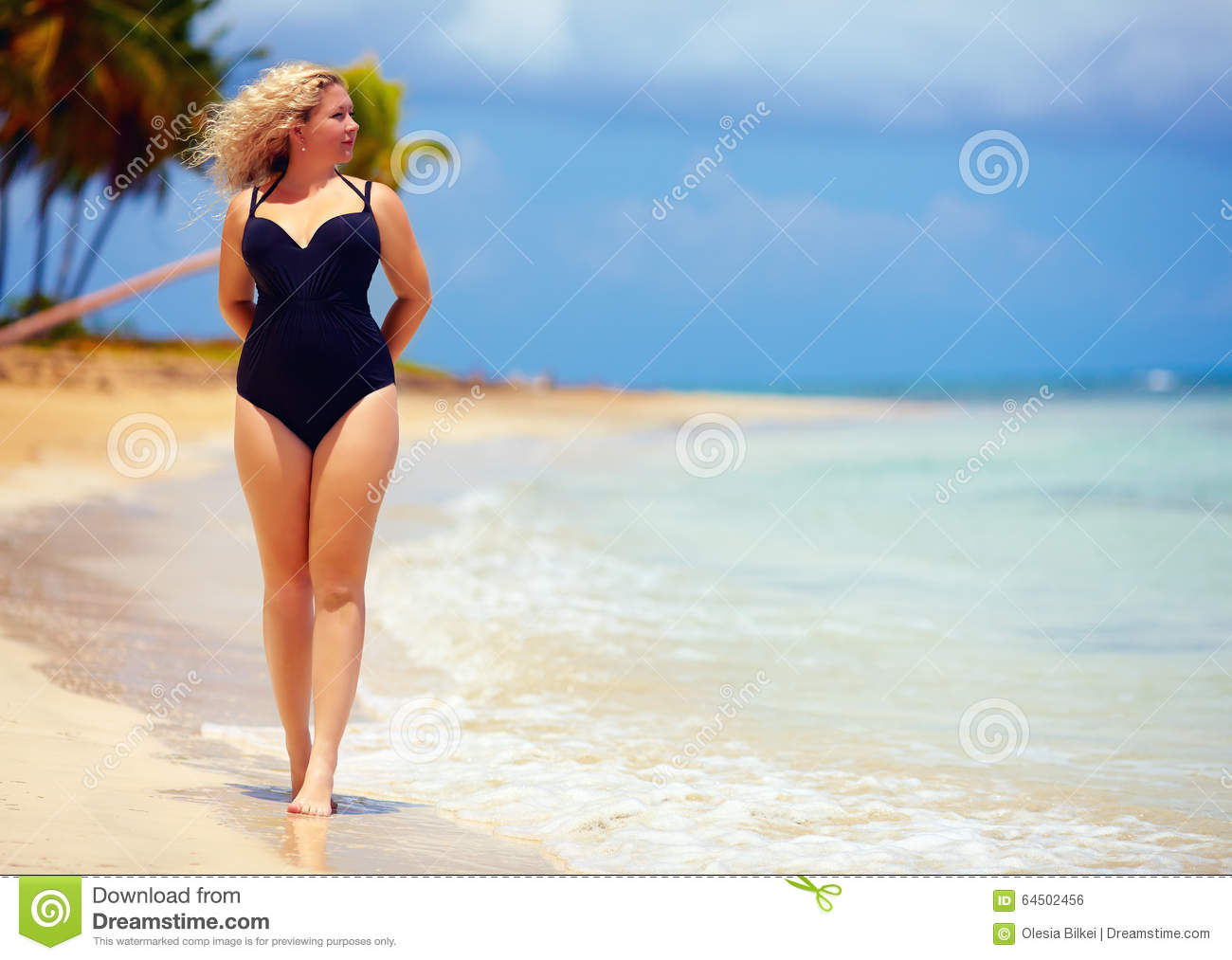 Woman walking on a beach royalty - Royalty Free Stock Photo Download Beautiful Plus Size Woman Walking On Summer Beach