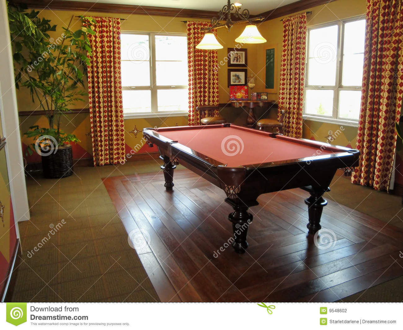 Beautiful Pool Table And Game Room Stock Photo Image Of