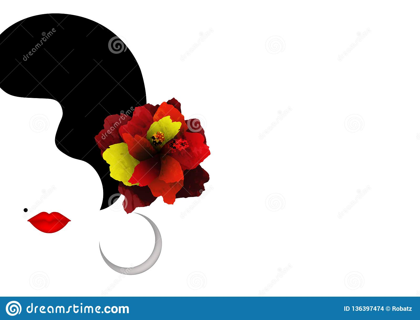 Beautiful Woman Silhouette Whit Red Hibiscus Flowers And Red Lips