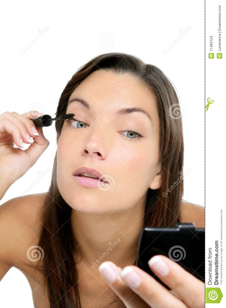 Beautiful Portrait Of Woman Makeup With Brush Stock Images - Image 11483124
