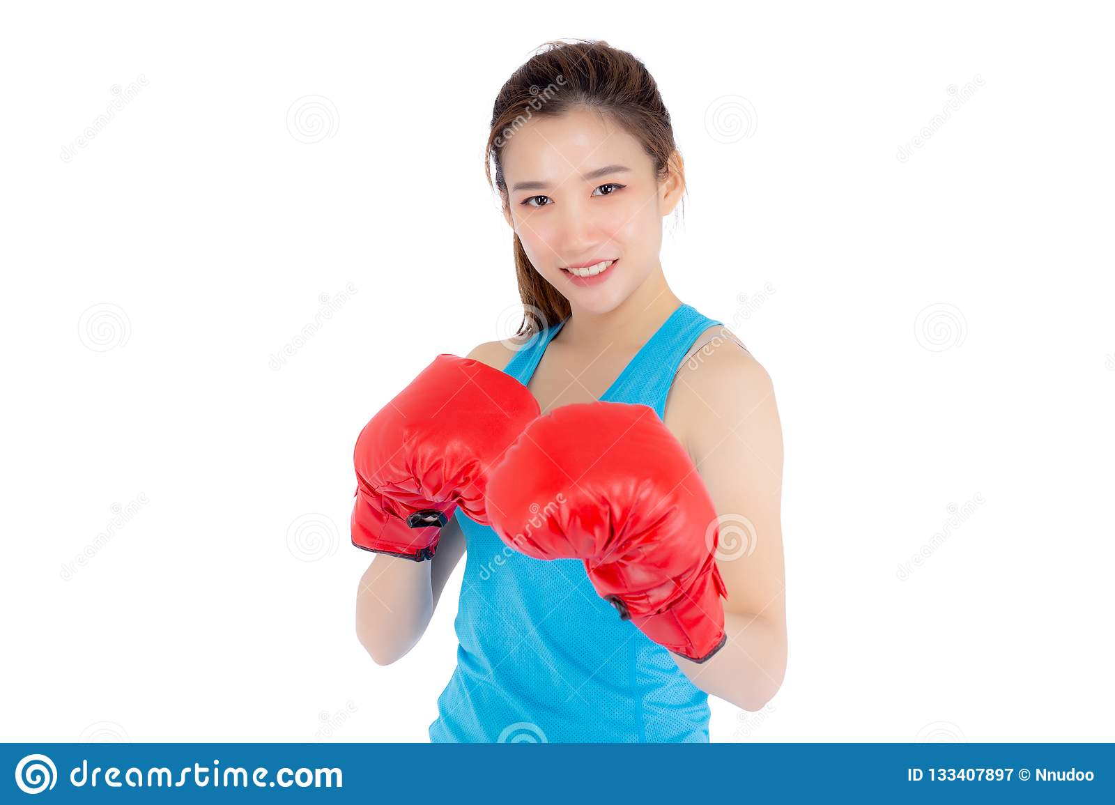 1a94c2695c5f98 Beautiful portrait young asian woman wearing red boxing gloves with  strength and strength isolated on white background, girl workout exercise  is sport ...
