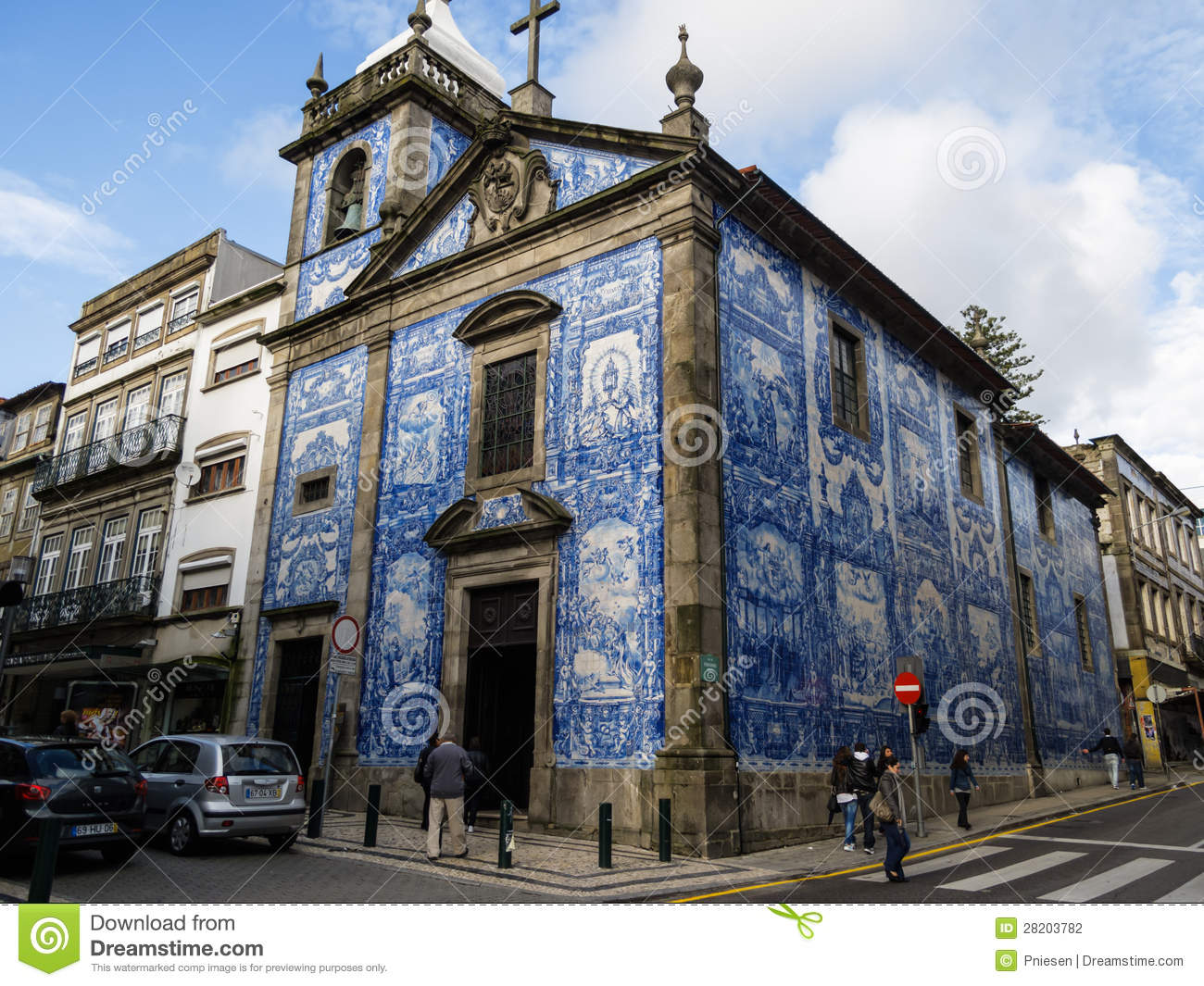Beautiful Portuguese Blue Ceramic Tile Church With Bell