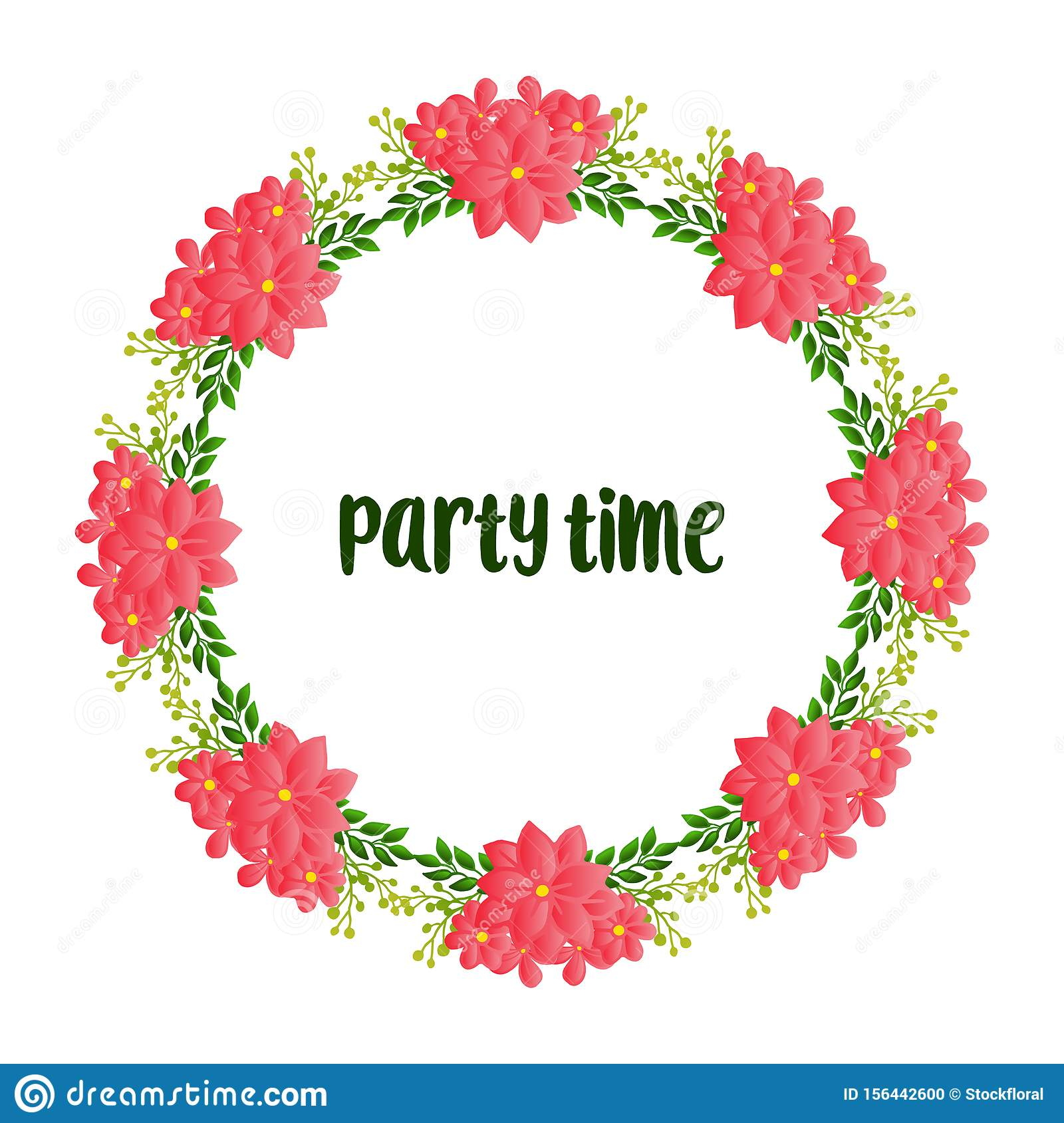 Beautiful poster invitation for party time, with texture of wreath frame blooms. Vector