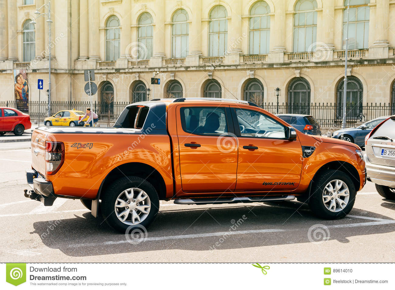 beautiful and powerful orange ford ranger codenamed t6 wildtrack parked in center of bucharest. Black Bedroom Furniture Sets. Home Design Ideas