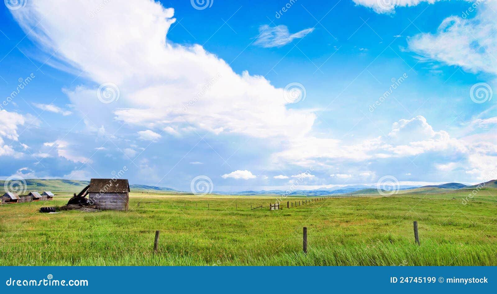 Beautiful Prairie Landscape In Alberta Canada Royalty