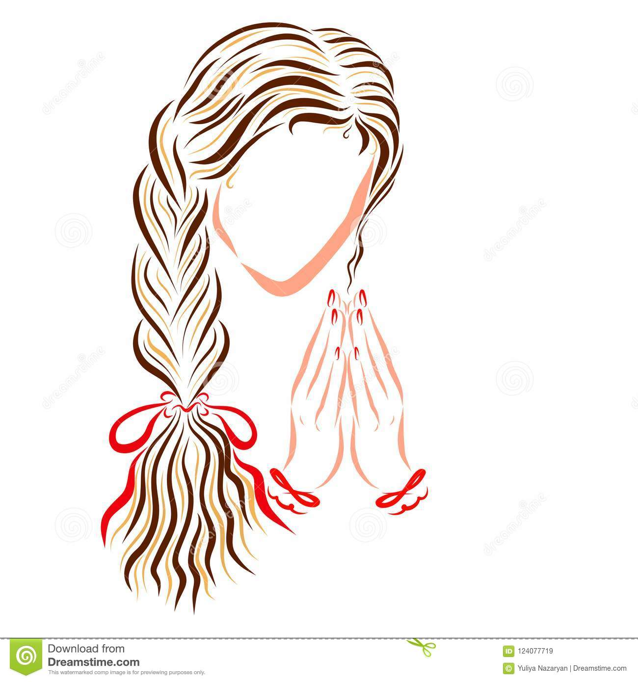 Beautiful Praying Young Lady With Long Pigtail Stock Illustration