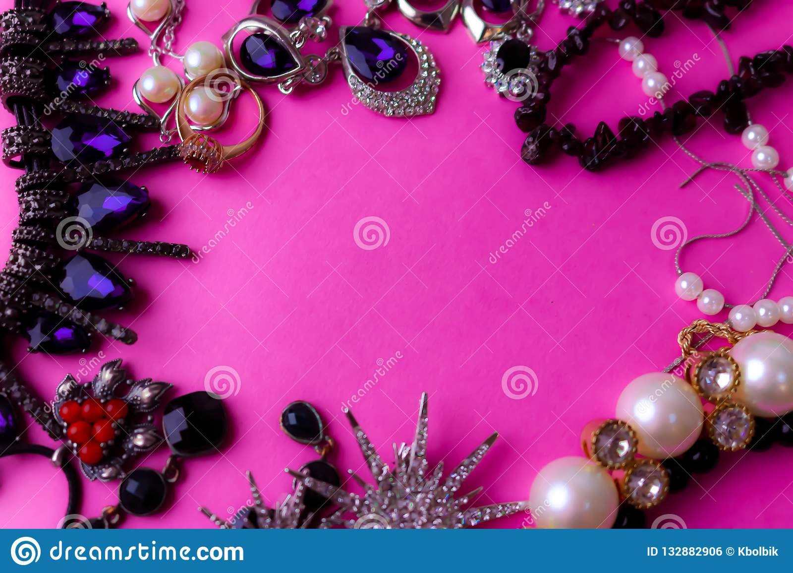 Beautiful precious shiny jewelery trendy glamorous jewelry set, necklace, earrings, rings, chains, brooches with pearls
