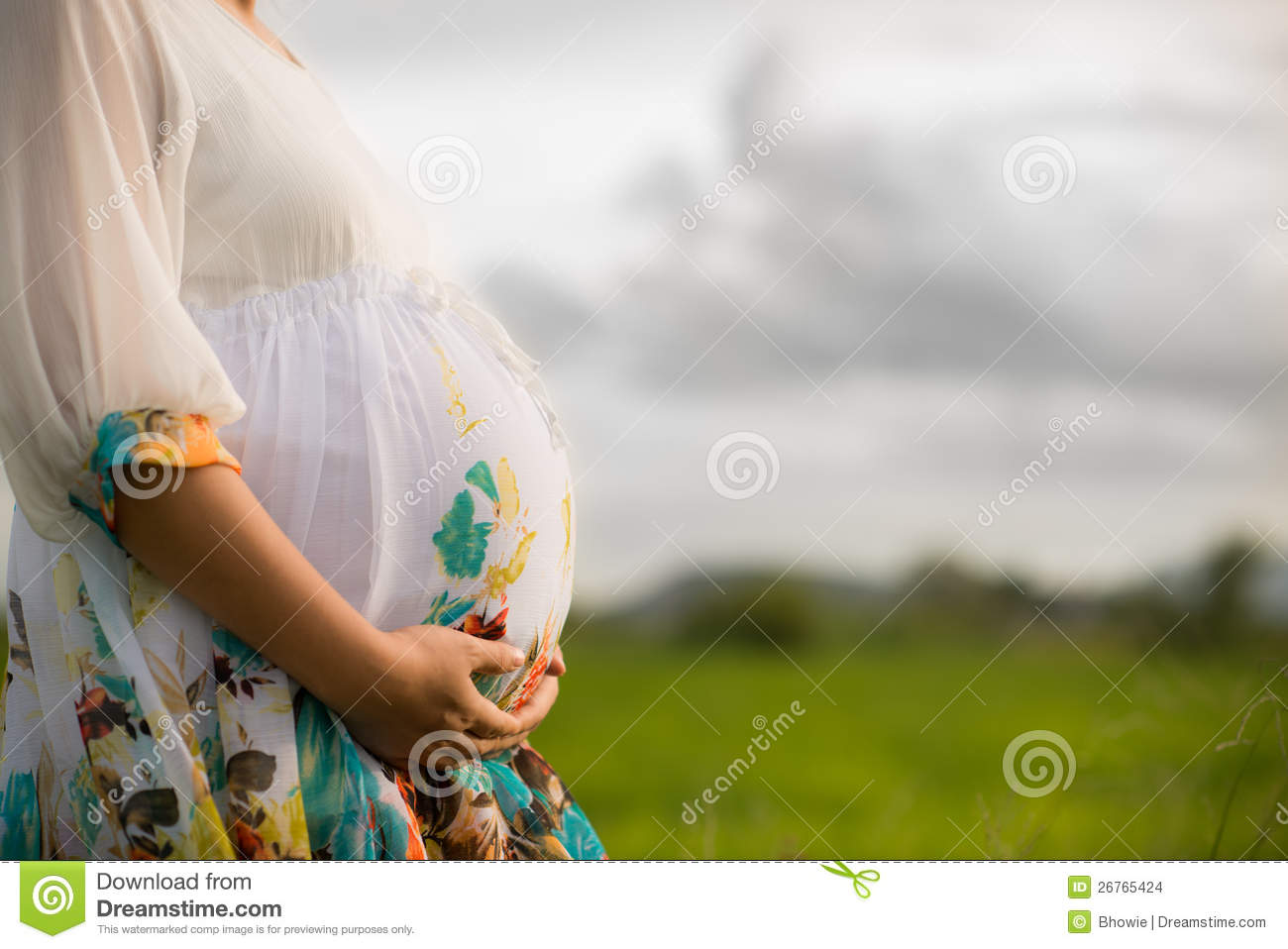 Beautiful Pregnant Asian Woman in Rice Field