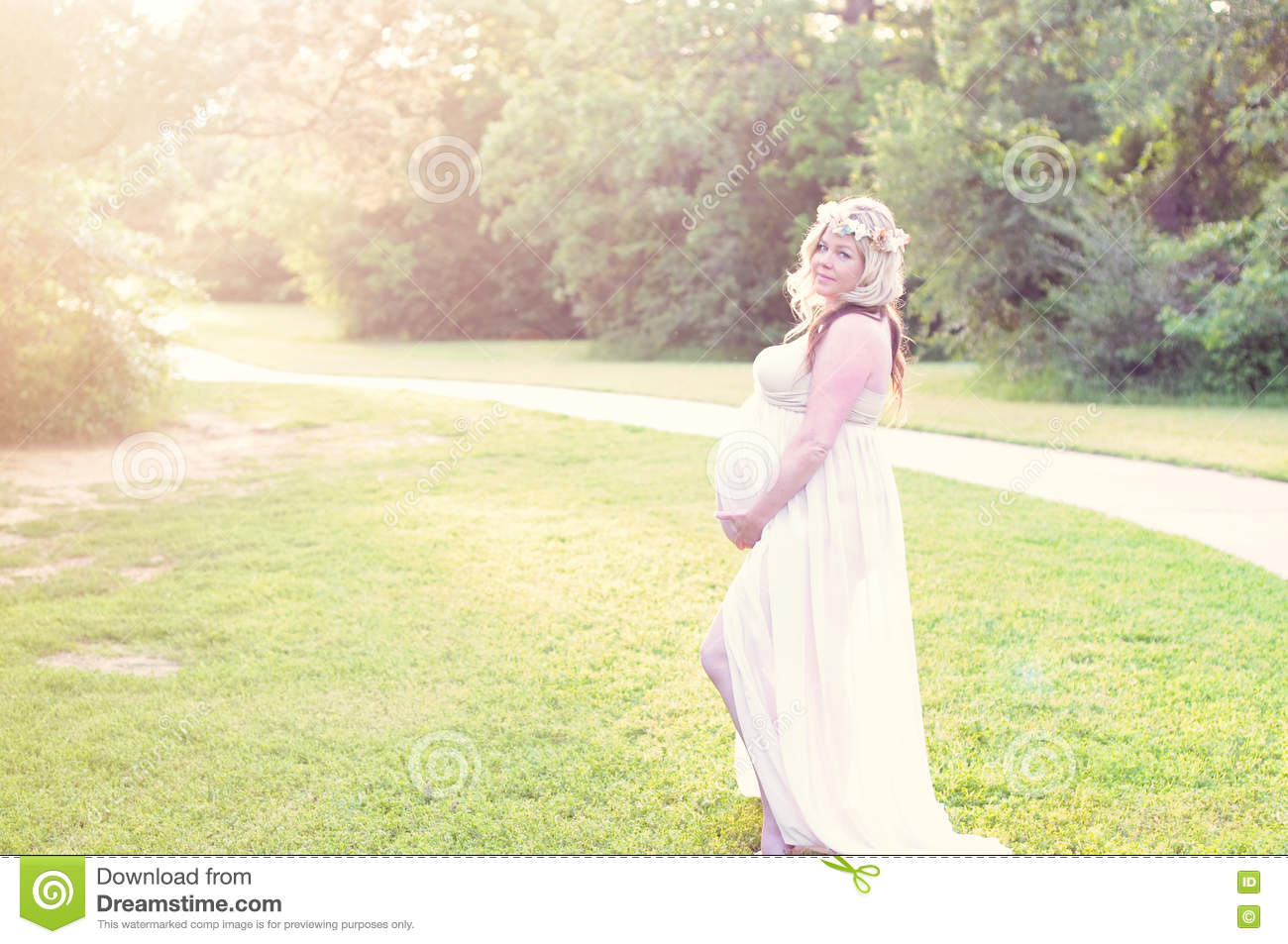 bf04e33237fbb Beautiful Pregnant Woman In A Sheer Dress At A Park With Copyspace ...