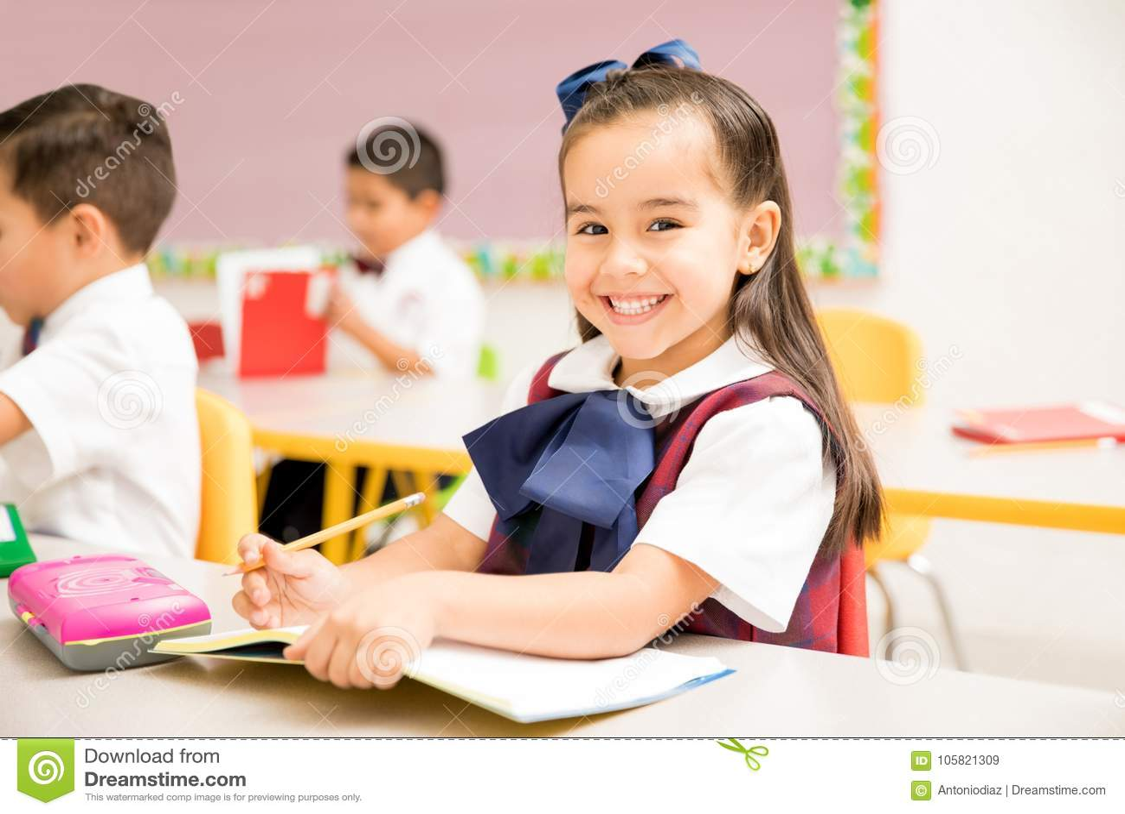 Beautiful preschool student in a classroom