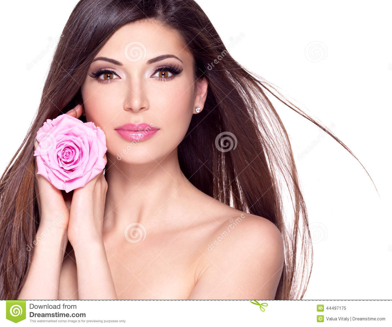 Beautiful Pretty Woman With Long Hair And Pink Rose At
