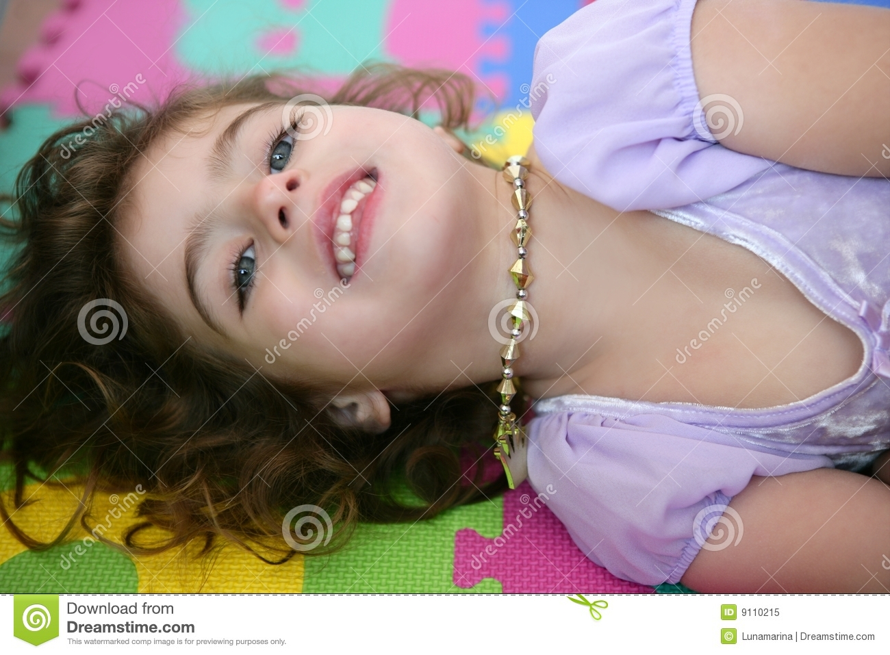 Beautiful Princess Little Girl Smiling Lying Floor Royalty