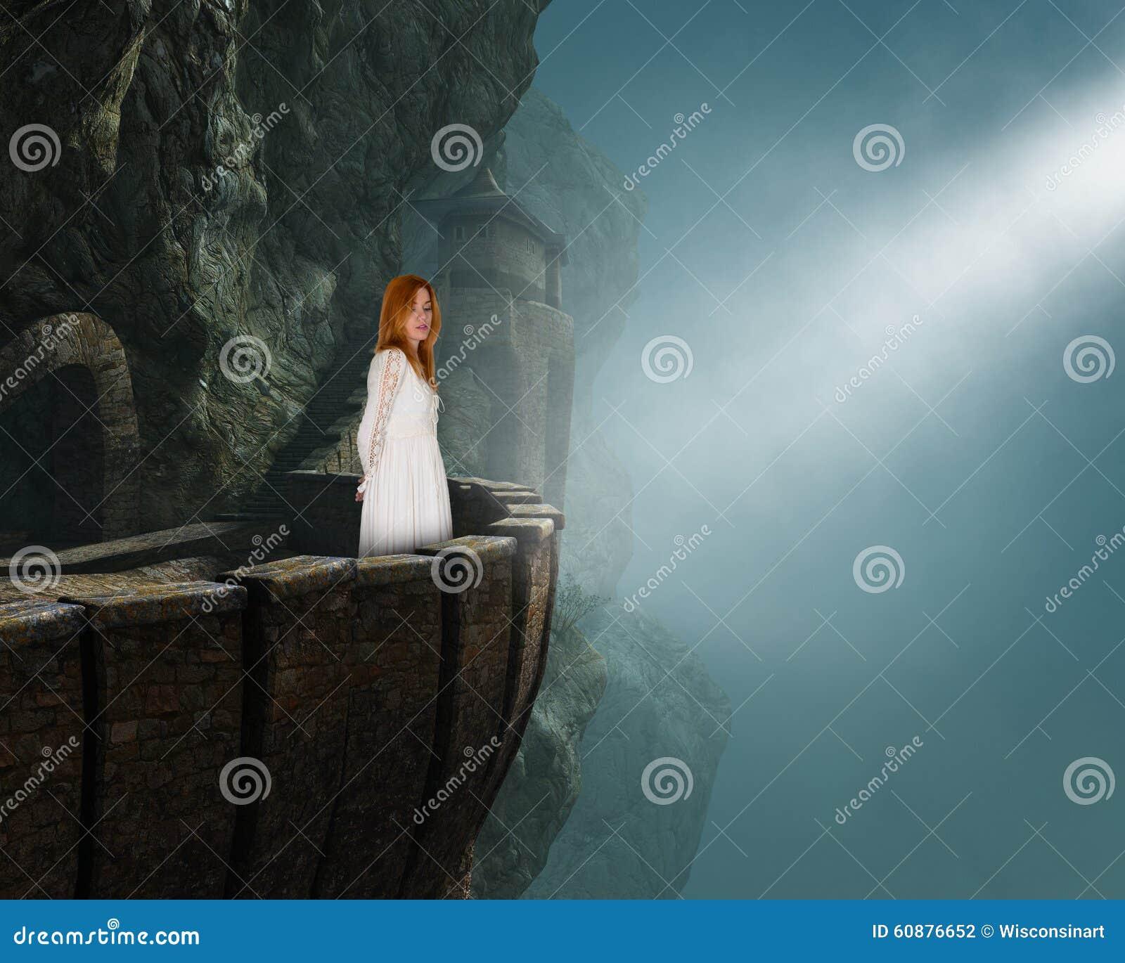 Beautiful Princess Maiden Medieval Castle Stock Photo
