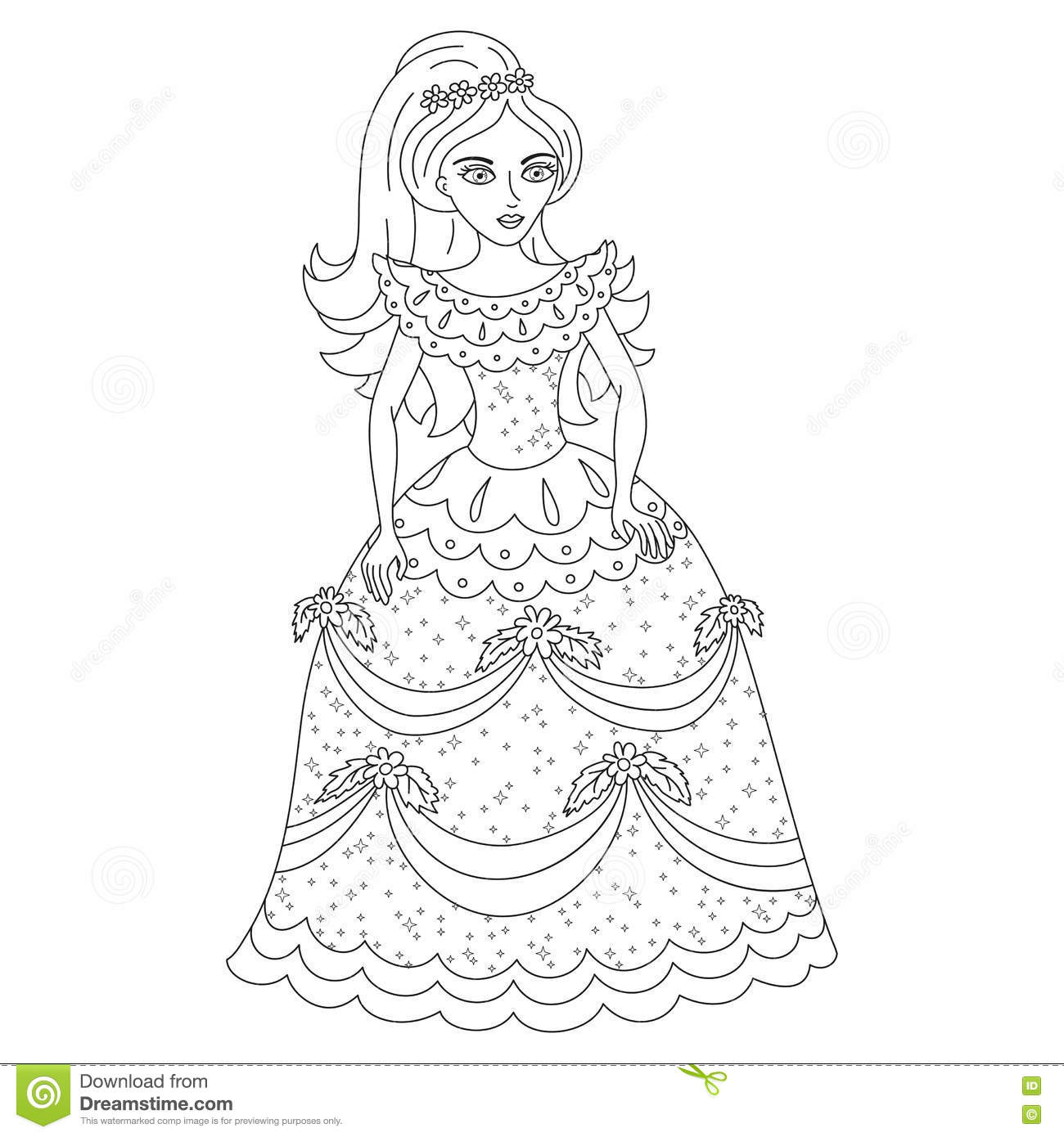 Coloring book princess - Beautiful Princess In Shining Dress With Spangles Coloring Book Page Stock Vector
