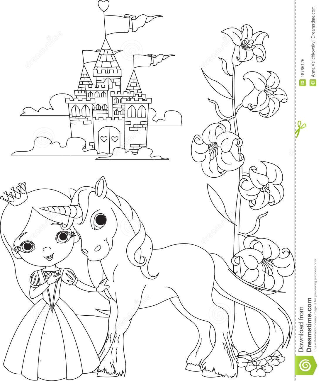 beautiful princess and unicorn coloring page royalty free stock