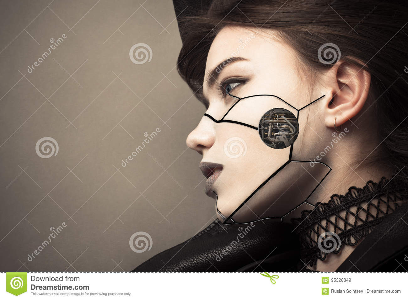 Beautiful profile face cyberpunk girl with fashion makeup