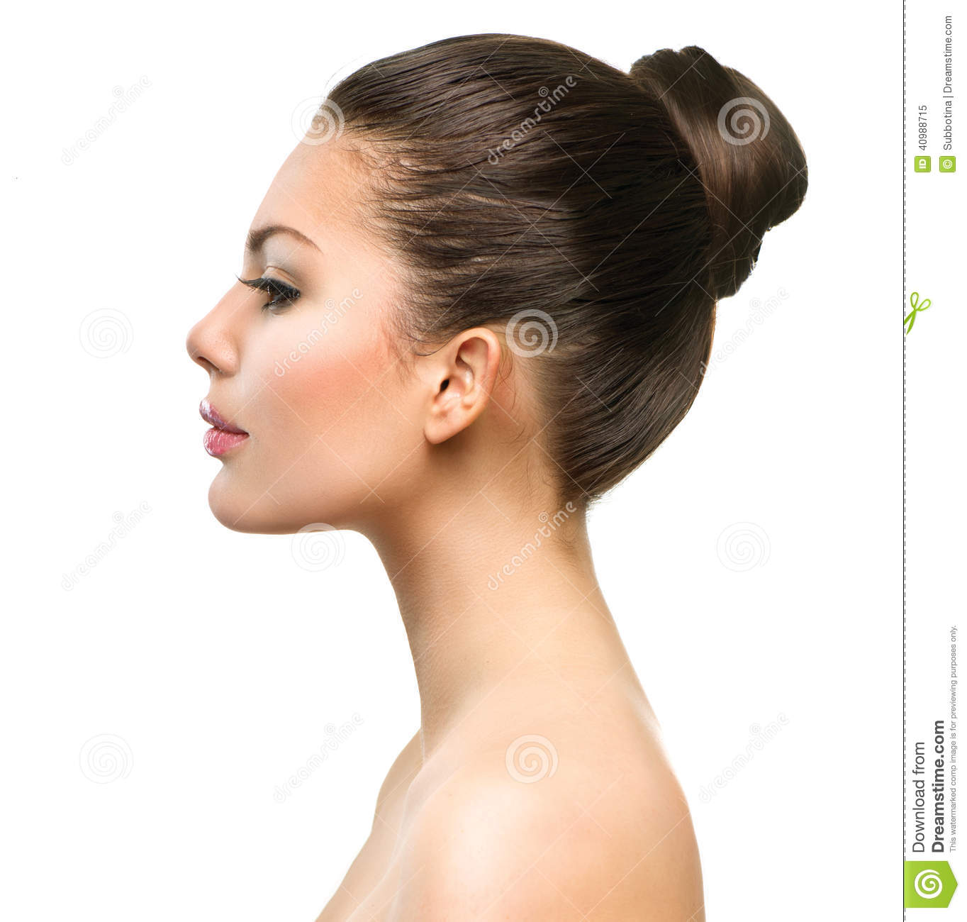 Beautiful Profile Face of Young Woman with Clean Fresh Skin Female Nose Profile