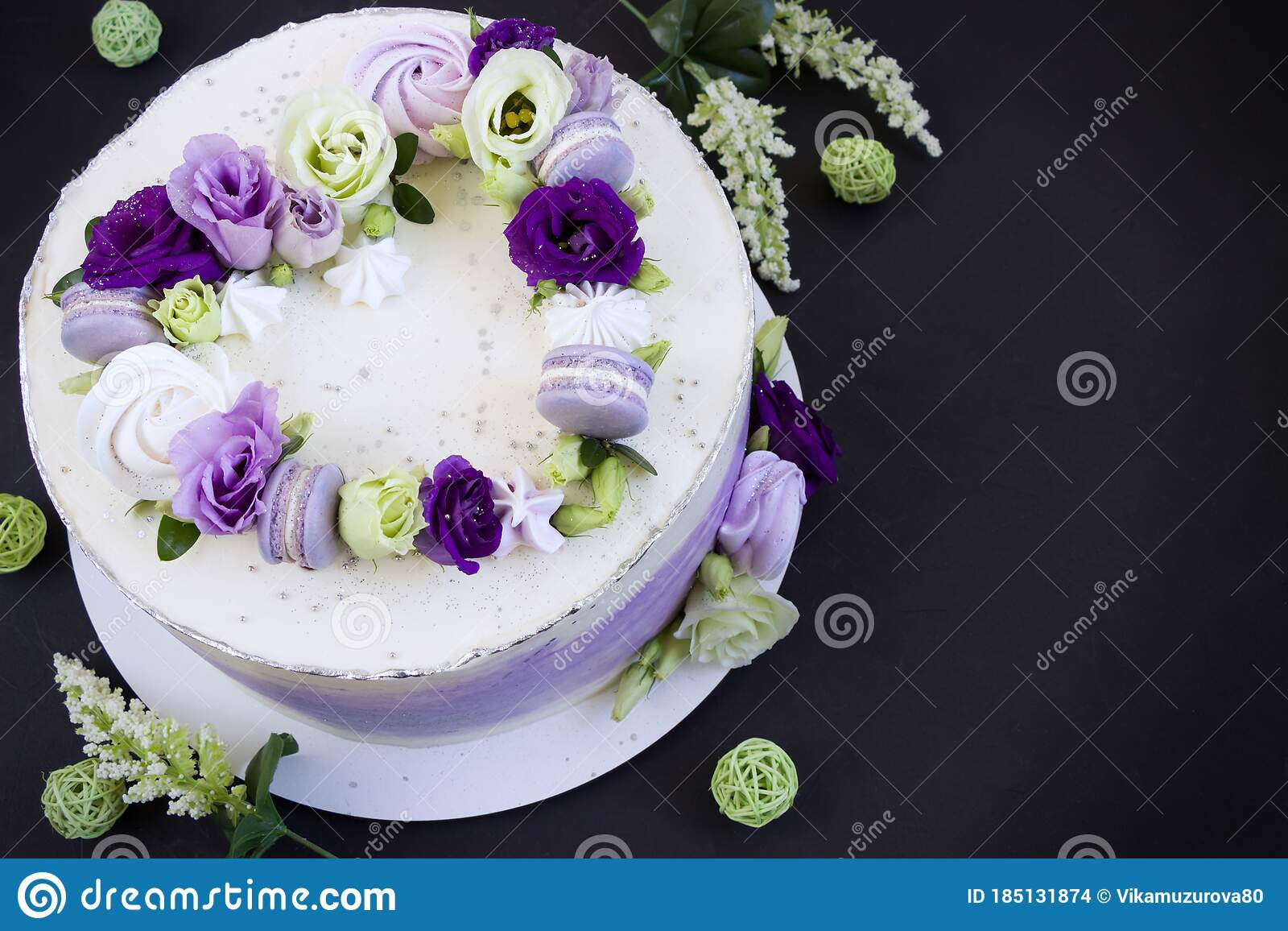 Beautiful Purple Cake Decoraited Of Fresh Flowers Macaroons And Meringue Heart Cake Love Concept Wedding Cake Birthday Cake Stock Photo Image Of Beautiful Black 185131874