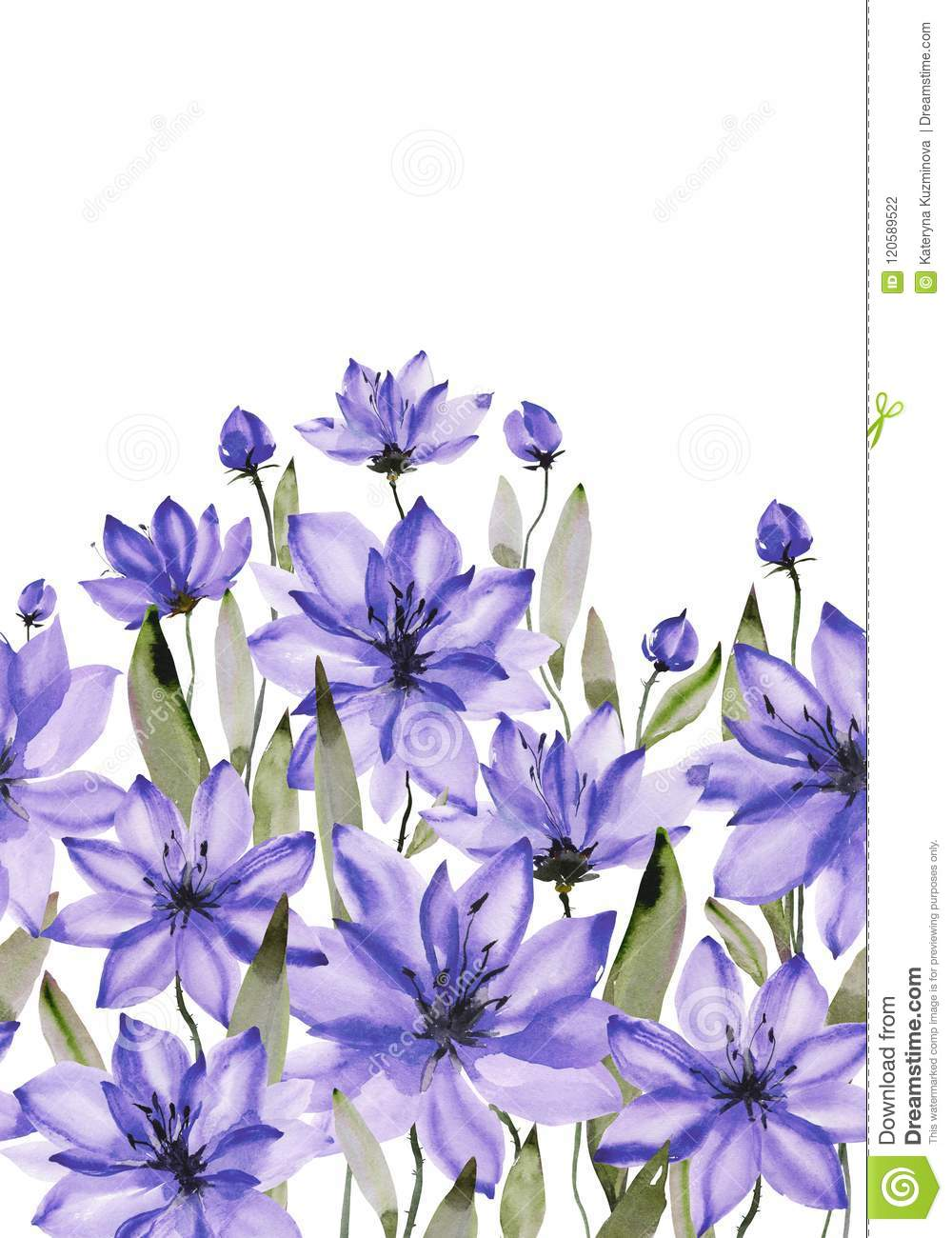 Beautiful purple flowers with green stems and leaves on white background. Seamless floral pattern. Watercolor painting.